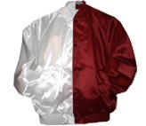 Clearance: White/Burgundy Two-Tone Satin Baseball Jacket, Size LARGE, Blank