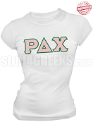Rho Delta Chi Greek Letter T-Shirt, White - EMBROIDERED with Lifetime Guarantee