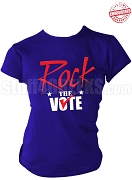 Rock The Vote Election T-Shirt, Royal Blue, Red, & White - EMBROIDERED with Lifetime Guarantee