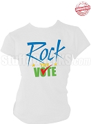 Rock The Vote Election T-Shirt, White, Royal Blue, Gold, & Kelly Green - EMBROIDERED with Lifetime Guarantee