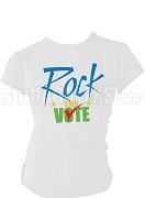 Rock The Vote Screen Printed Election T-Shirt, White, Royal Blue, Gold, & Kelly Green