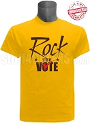 Rock The Vote Election T-Shirt, Gold & Brown - EMBROIDERED with Lifetime Guarantee