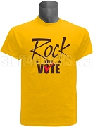 Rock The Vote Screen Printed Election T-Shirt, Gold & Brown