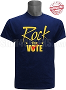 Rock The Vote Election T-Shirt, Navy Blue - EMBROIDERED with Lifetime Guarantee