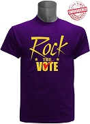 Rock The Vote Election T-Shirt, Purple - EMBROIDERED with Lifetime Guarantee