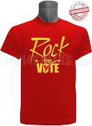 Rock The Vote Election T-Shirt, Red - EMBROIDERED with Lifetime Guarantee