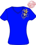 SGRho Fancy Crest V-Neck T-Shirt, Royal - EMBROIDERED with Lifetime Guarantee