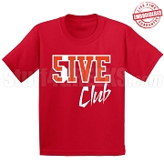 5/Five Club T-Shirt, Red/White - EMBROIDERED with Lifetime Guarantee