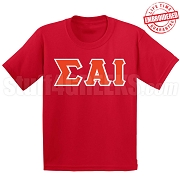 Sigma Alpha Iota Greek Letter T-Shirt, Red - EMBROIDERED with Lifetime Guarantee