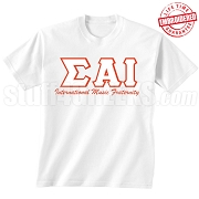 Sigma Alpha Iota International Music Fraternity T-Shirt, White - EMBROIDERED with Lifetime Guarantee