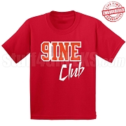 9/Nine Club T-Shirt, Red/White - EMBROIDERED with Lifetime Guarantee