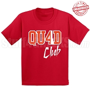 4/Quad Club T-Shirt, Red/White - EMBROIDERED with Lifetime Guarantee