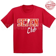 7/Seven Club T-Shirt, Red/White - EMBROIDERED with Lifetime Guarantee