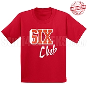 6/Six Club T-Shirt, Red/White - EMBROIDERED with Lifetime Guarantee