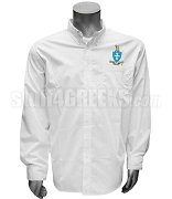 Sigma Chi Button Down Shirt with Crest, White