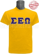 Sigma Epsilon Omega Greek Letter T-Shirt, Gold - EMBROIDERED with Lifetime Guarantee