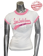 Sigma Lambda Gamma For Life Ringer T-Shirt, White/Pink - EMBROIDERED with Lifetime Guarantee