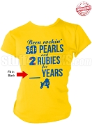 Sigma Gamma Rho Rocking Anniversary T-Shirt, Gold - EMBROIDERED with Lifetime Guarantee