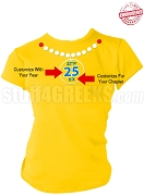 Sigma Gamma Rho Pearl Necklace Anniversary T-Shirt, Gold - EMBROIDERED with Lifetime Guarantee