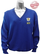 Sigma Gamma Rho V-Neck Sweater with Letters Under Crest, Royal Blue
