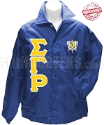 Sigma Gamma Rho Royal Blue Crossing Jacket with Letters and Crest - EMBROIDERED With Lifetime Guarantee