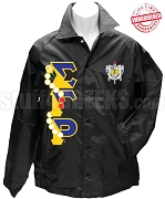 Sigma Gamma Rho Line Jacket with Pearls Thru Greek Letters and Crest, Black