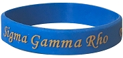 Sigma Gamma Rho Silicon Wristband with Organization Name, Royal Blue (SAV-WB38)