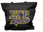 Sigma Gamma Rho Letter Tote Bag with Tail Patch, Black (NS)