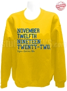 Sigma Gamma Rho Founding Date Sweatshirt, Gold - EMBROIDERED with Lifetime Guarantee
