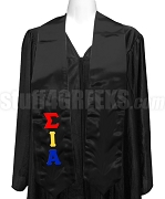 Sigma Iota Alpha Satin Graduation Stole with Greek Letters, Black