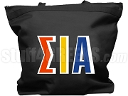 Sigma Iota Alpha Tote Bag with Greek Letters, Black