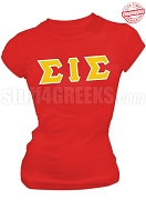 Sigma Iota Sigma Multicultural Sorority Greek Letter T-Shirt, Red - EMBROIDERED with Lifetime Guarantee