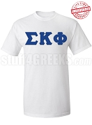 Sigma Kappa Phi Greek Letter T-Shirt, White - EMBROIDERED with Lifetime Guarantee