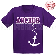Anchor T-Shirt, Purple/White - EMBROIDERED with Lifetime Guarantee
