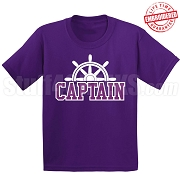 Captain T-Shirt, Purple/White - EMBROIDERED with Lifetime Guarantee