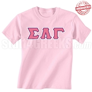 SLG Triple-Layered Letters T-Shirt, Azalea - EMBROIDERED with Lifetime Guarantee
