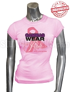 Sigma Lambda Gamma Pink Ribbon Breast Cancer Awareness T-Shirt, Pink - EMBROIDERED with Lifetime Guarantee