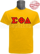 Sigma Phi Delta Greek Letter Screen Printed T-Shirt, Gold - EMBROIDERED with Lifetime Guarantee