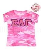 Sigma Lambda Gamma Pink Camo T-Shirt -EMBROIDERED with Lifetime Guarantee