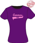 Gammas 1990 Ladies Tee, Purple - EMBROIDERED with Lifetime Guarantee