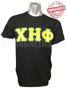 Chi Eta Phi Yellow Greek Letter with Green Outline T-Shirt , Black - EMBROIDERED with Lifetime Guarantee