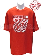 MADE IN... Shirt - Red/White - EMBROIDERED with Lifetime Guarantee