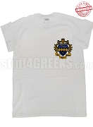 Tau Beta Sigma T-Shirt with Crest, White - EMBROIDERED with Lifetime Guarantee