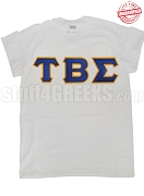 Tau Beta Sigma Greek Letter White T-Shirt - EMBROIDERED with Lifetime Guarantee