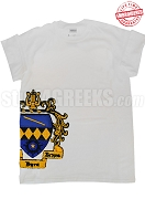 Tau Beta Sigma T-Shirt with Side Crest, White - EMBROIDERED with Lifetime Guarantee