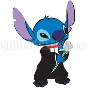 Stitch Wearing a Suite & Holding Roses Patch