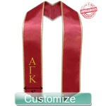 Custom Diagonally Cut Satin Graduation Stole with Trim (OTHER COLORS AVAILABLE) - EMBROIDERED with Lifetime Guarantee