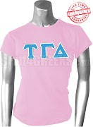 Tau Gamma Delta Greek Letter T-Shirt, Pink - EMBROIDERED with Lifetime Guarantee