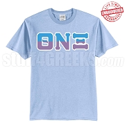 Theta Nu Xi Half Letters T-Shirt, Light Blue - EMBROIDERED with Lifetime Guarantee