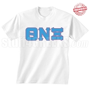 Theta Nu Xi T-Shirt, White - EMBROIDERED with Lifetime Guarantee